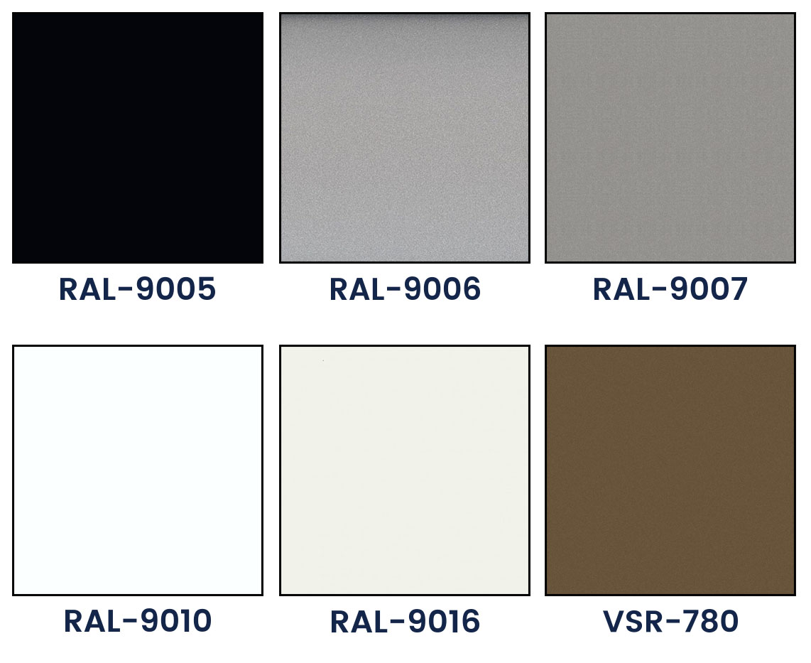 Basic lamellae colors of outdoor blinds
