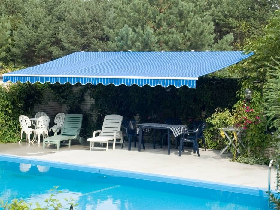 Garden blue awning home promotion