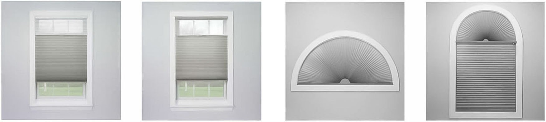 Pleated blinds form shapes windows