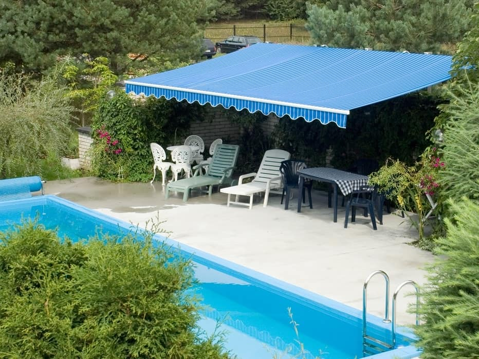 Pool home awning cover from sun