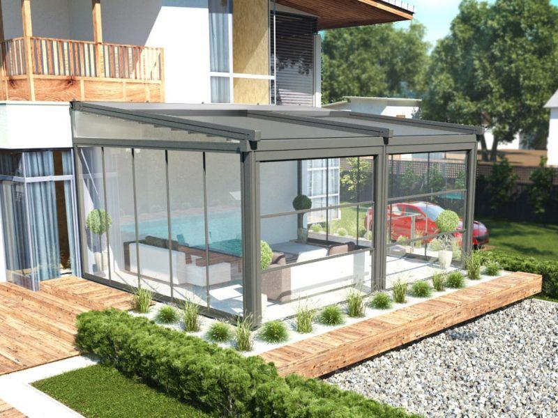 Retractable pergola private house terrace